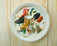 Sopa de pescado de pescados del coco Imagenes de archivo