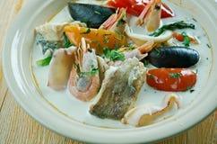 Sopa de pescado de pescados del coco Fotografía de archivo