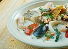 Sopa de pescado de pescados del coco Fotos de archivo libres de regalías