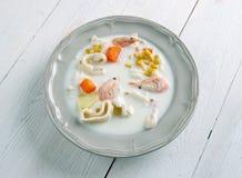 Sopa de pescado de pescados irlandesa Foto de archivo libre de regalías