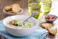 Sopa de pescado del bróculi y de maíz foto de archivo