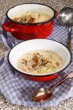 Sopa de pescado de pescados irlandesa con maíz de pimienta machacado Foto de archivo libre de regalías
