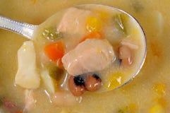 Sopa de pescado y cuchara de pescados ahumada Fotografía de archivo libre de regalías