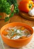 Sopa de pollo. Imagen de archivo