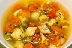 Sopa de pollo Fotografía de archivo