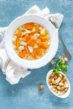 Sopa de pollo, caldo con la carne, pastas y verduras Imágenes de archivo libres de regalías