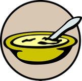 Sopa de pollo caliente - comida de la avena - tazón de fuente de cereal - crema ilustración del vector