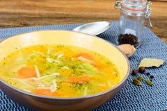 Sopa de pollo con bróculi, zanahorias y apio, calabaza y Nood Imagen de archivo libre de regalías