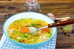 Sopa de pollo con bróculi, zanahorias y apio, calabaza y Nood fotografía de archivo libre de regalías