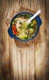 Sopa de pollo con las verduras Imagenes de archivo