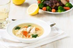 Sopa de pollo con las verduras y orzo Imagen de archivo libre de regalías