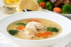 Sopa de pollo con las verduras y orzo Imagenes de archivo