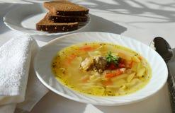 Sopa de pollo con los tallarines hechos en casa Imagen de archivo