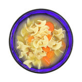 Sopa de pollo fornida con las pastas y las zanahorias Imagenes de archivo