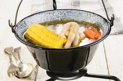 Sopa de pollo húngara en una caldera negra fotografía de archivo libre de regalías