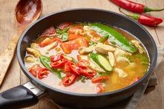 Sopa de pollo picante recientemente cocinada Fotos de archivo