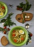 Sopa de pollo r?stica con los tallarines y las verduras foto de archivo libre de regalías