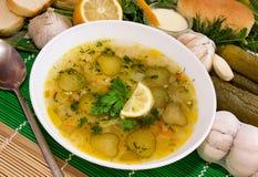 Sopa de Rassolnik con el pepino salado. Fotografía de archivo
