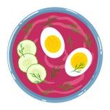 Sopa de remolachas en un cuenco con la crema agria, el huevo, el pepino y el eneldo, aislados Visi?n superior Ilustraci?n drenada stock de ilustración