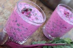 Sopa de remolachas fría Foto de archivo libre de regalías