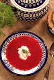Sopa de remolachas rusa ucraniana tradicional del borscht con s blanco Fotografía de archivo libre de regalías