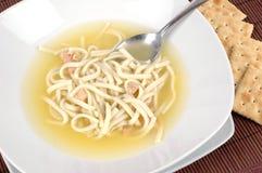 Sopa de tallarines del pollo Foto de archivo libre de regalías