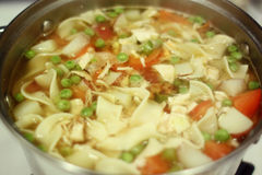 Sopa de tallarines hecha en casa del pollo Fotos de archivo