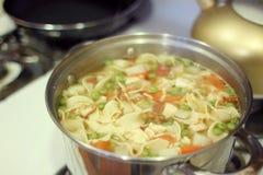 Sopa de tallarines hecha en casa del pollo Fotografía de archivo