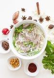 Sopa de tallarines vietnamita de la carne de vaca - Pho BO foto de archivo