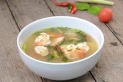 Sopa de Tom Yum Goong com camarão, alimento tailandês favorito imagem de stock royalty free