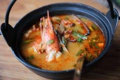 Sopa de Tom yum, Tom yum com camarão, alimento tailandês imagem de stock