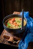 Sopa de Tom Yum com camarões imagem de stock royalty free