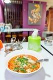 Sopa de Tom Yum com marisco foto de stock