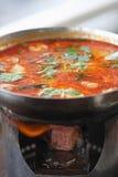 Sopa de Tom Yum Kung com marisco fotografia de stock royalty free