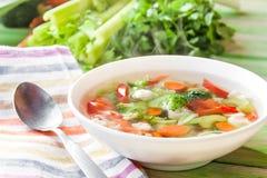 Sopa de verduras caliente Fotos de archivo