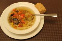 Sopa de verduras con el bollo del trigo integral Imagen de archivo libre de regalías