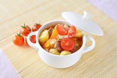 Sopa de verduras con la patata, la zanahoria, los tomates y la carne Fotografía de archivo