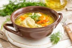 Sopa de verduras con las albóndigas Imagen de archivo