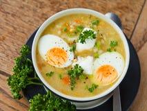 Sopa de verduras del huevo Foto de archivo libre de regalías