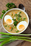 Sopa de verduras del huevo Imagen de archivo libre de regalías