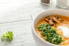 Sopa de verduras dietética con la calabaza y el perejil Imágenes de archivo libres de regalías