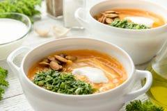 Sopa de verduras dietética con la calabaza y el perejil Imagen de archivo libre de regalías