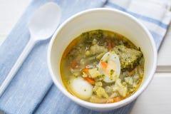 Sopa de verduras de un brokolla y huevos de codornices en una placa disponible, una cuchara plástica con un foco suave Fotografía de archivo libre de regalías