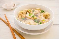 Sopa de Wonton, alimento chinês Fotografia de Stock