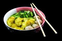 sopa de wonton no fundo preto Fotografia de Stock
