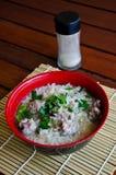 Sopa del arroz con cerdo Foto de archivo libre de regalías