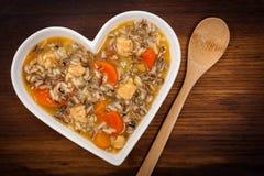 Sopa del arroz salvaje del pollo Foto de archivo libre de regalías