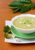Sopa del bróculi con queso Fotografía de archivo libre de regalías