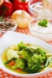 Sopa del bróculi y de la coliflor Foto de archivo libre de regalías