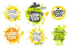 Sopa del día, estilo del bosquejo que cocina los iconos de las letras fijados stock de ilustración